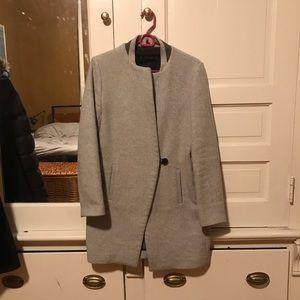 Zara grey wool minimalist cocoon coat, size S
